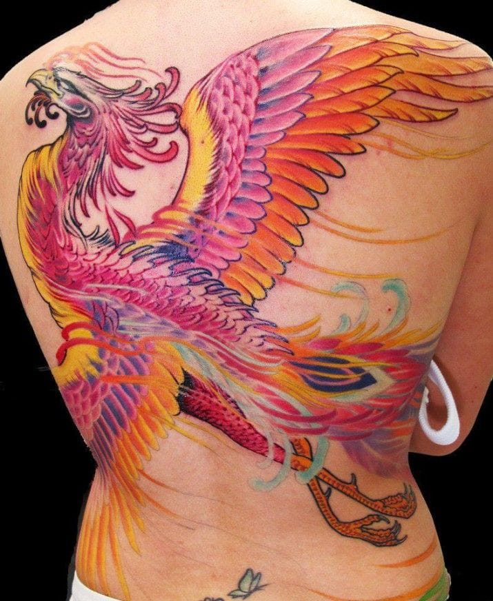 Bright colors, rad design and great placement for this phoenix tattoo made at Giahi Tattoo Shop. #giahi #phoenix