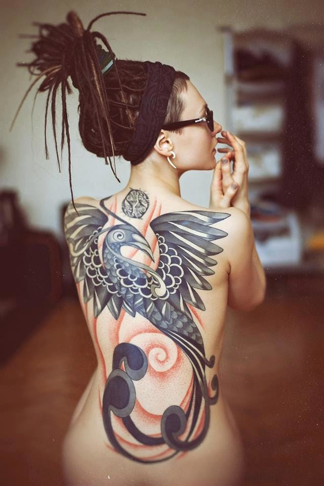 Just love this neo tribal back tattoo! Unique! #phoenix #neotribal