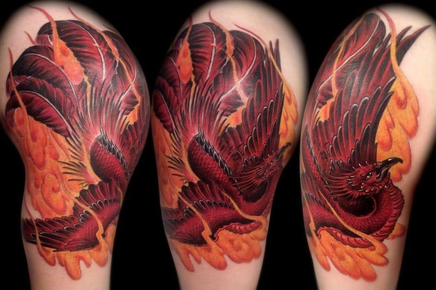 Burning bright phoenix tattoo by Kid Kros. #phoenix #kidkros