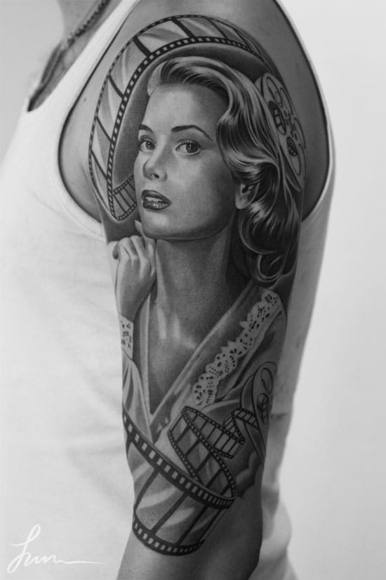 20 Black And Grey Portrait Tattoos Of Silver Screen Sirens