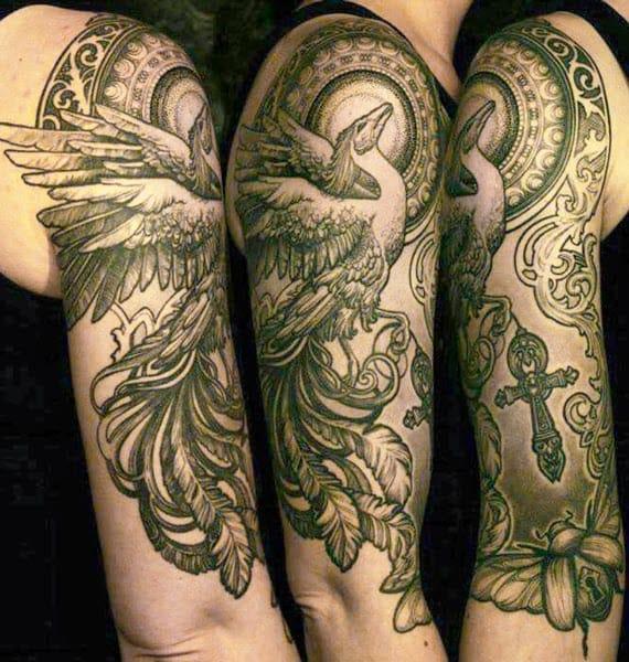 Amazing detailed phoenix with a cross by Swedish master Ellen Westholm! #cross #phoenix