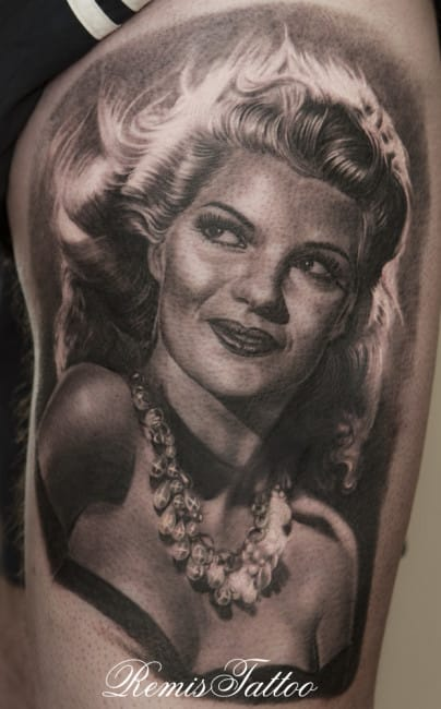 Rita Hayworth portrait by Remis Tattoo
