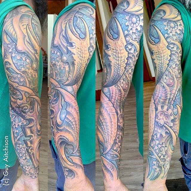 Mechanical Bio Organic Tattoo by Guy Aitchison