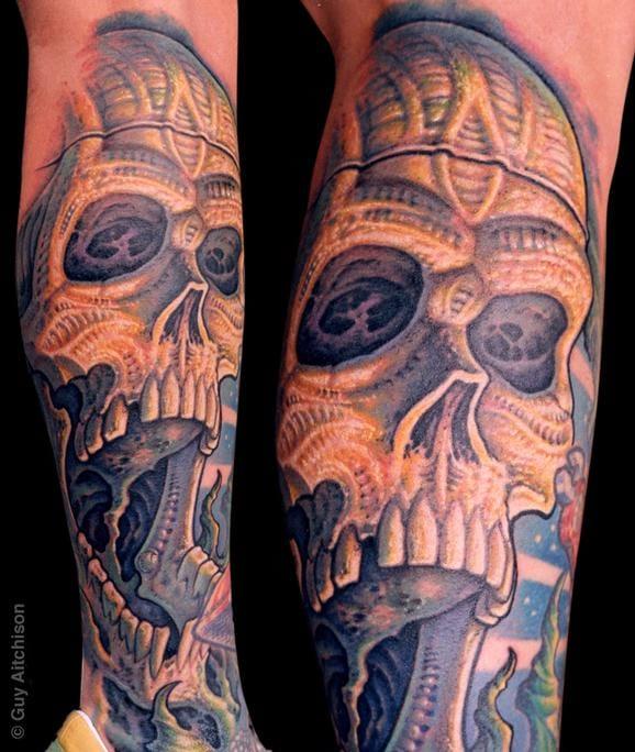 Skull Bio Organic Tattoo by Guy Aitchison