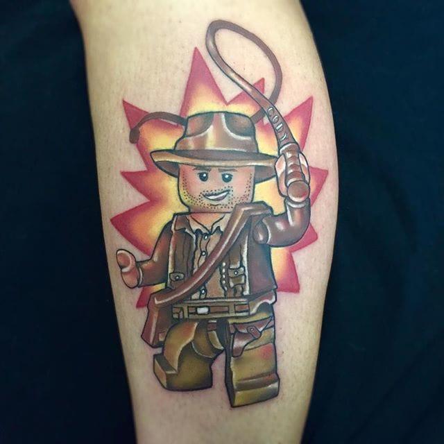 Fun Indiana Jones Lego Tattoo by Jeremy Brown
