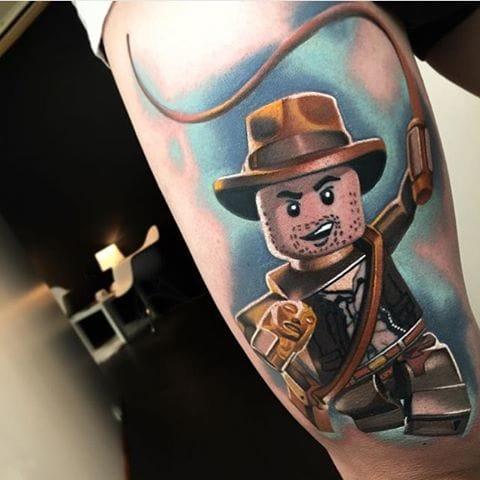 Lego Indiana Jones Tattoo by Levi Barnett