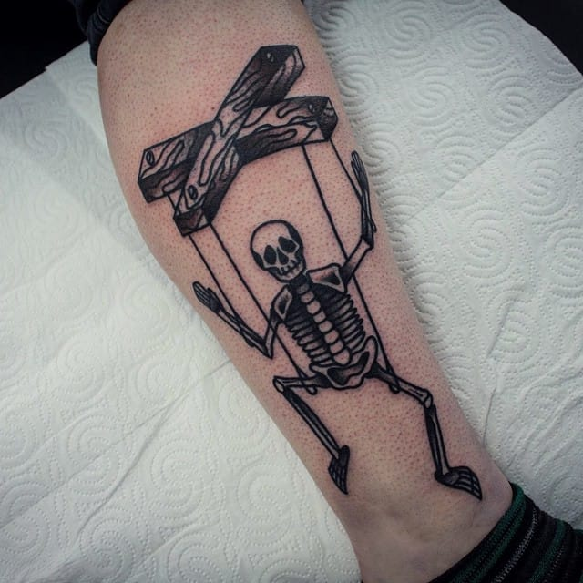 Blackwork Puppet Tattoo by Sascha Friederich