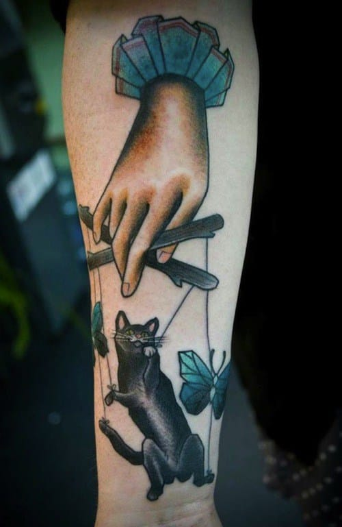 Cat Puppet Tattoo by Silje Roe Hagland