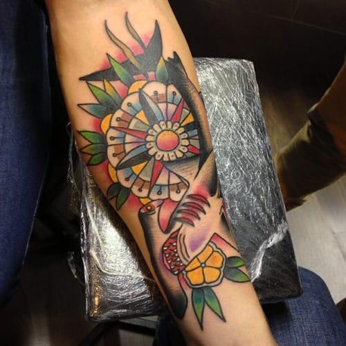 Traditional Flower Shark Tattoo by Thomas Flanagan
