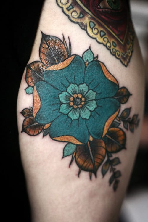 Traditional Flower Tattoo by Alice Carrier