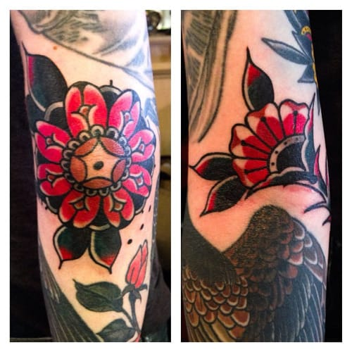 Traditional Flower Tattoo by Austin Maples