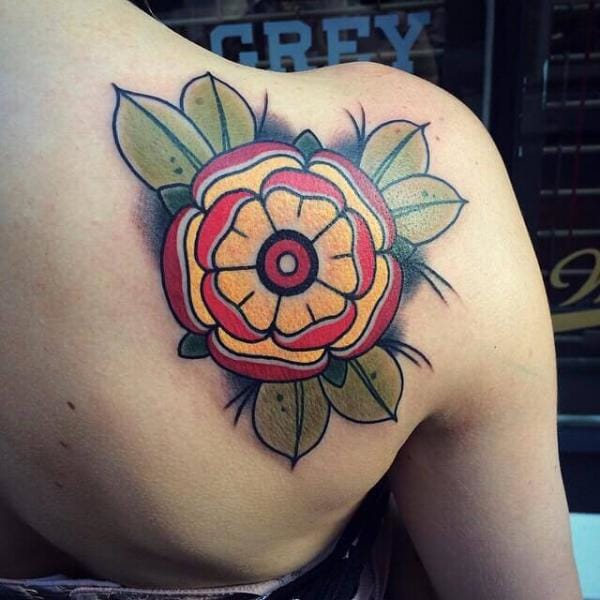 Traditional Flower Tattoo by Cloak and Dagger Tattoo