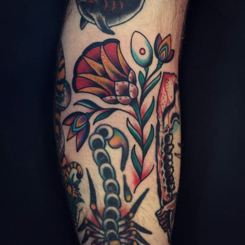 Traditional Flower Tattoo by Ivan A Soyars