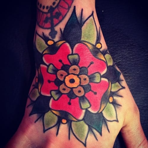 Traditional Flower Tattoo by Sam Ricketts