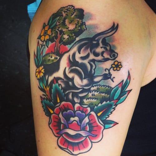 Tattoo by Stevie Edge #bull #bulltattoo