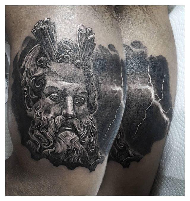 Dramatic Zeus Tattoo by Hugo Sousa