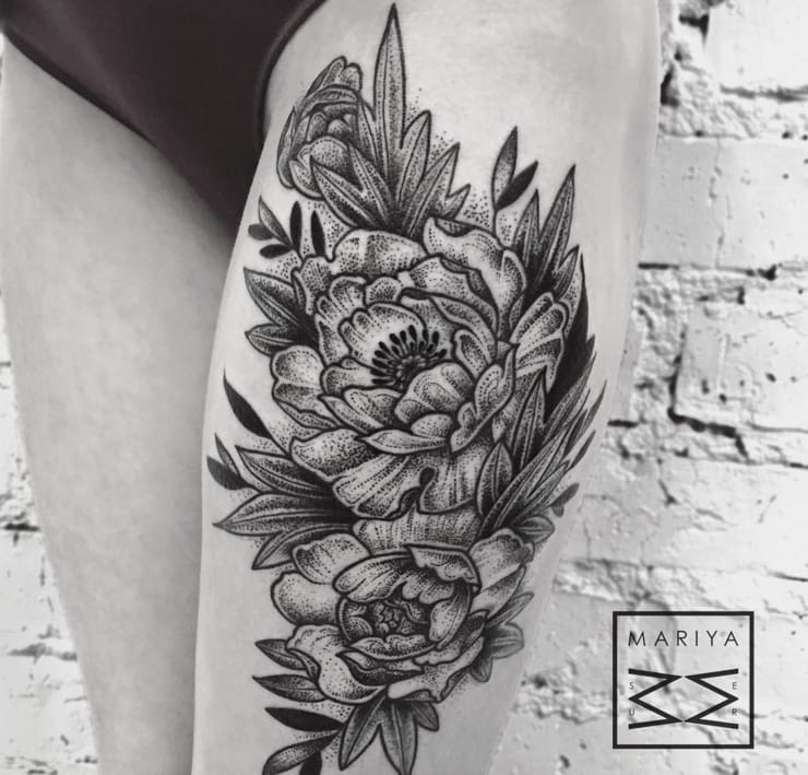 10 Gorgeous Black And Grey Peony Tattoos