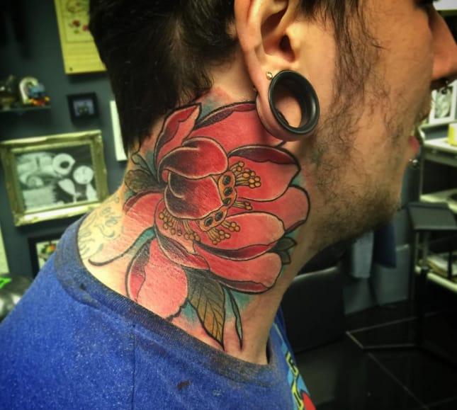 Beautiful peony tattoo by Isobel Juliet Stevenson, Skinnys Ink, Birmingham (Instagram @isobeljulietstevenson).