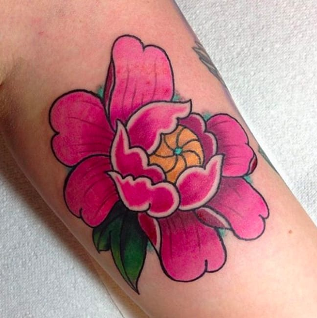 Perfect pink peony by Steph White, apprentice, Cock A Snook Tattoo Parlour, Newcastle Upon Tyne, UK (Instagram @wtef.cas).