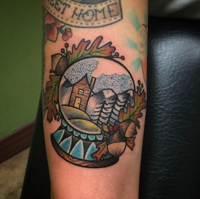 Snow Globe Tattoos: Snowy Winter Landscapes | Tattoodo
