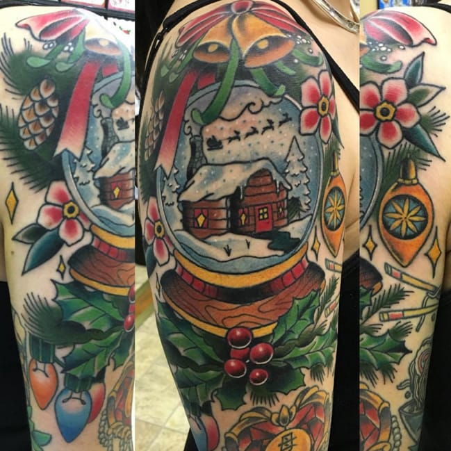 A very Christmassy snow globe tattoo, by Instagram @cthulhuisgod.