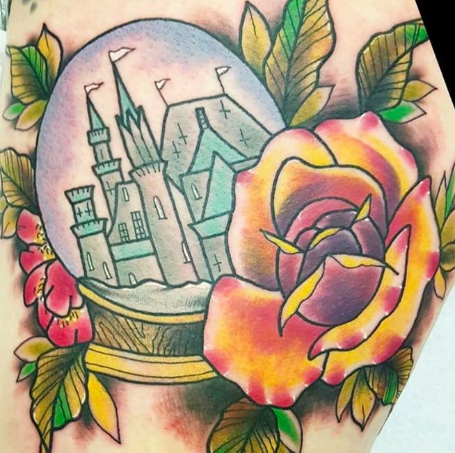 Snow Globe Tattoos: Colorful Castles