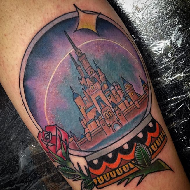 Castle tattoo by Jeremy Deboer (Instagram @jeremytattoos).