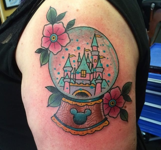 Disney castle tattoo by Melanie Milne, Sydney (Instagram @melaniemilnetattoos).