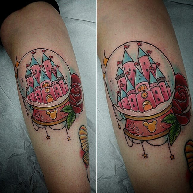 Disney snow globe by Nicole Cairns, Scotland, UK (Instagram @nicolecairnstattoo).