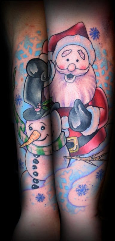 Cheerful Santa and his Snowman!