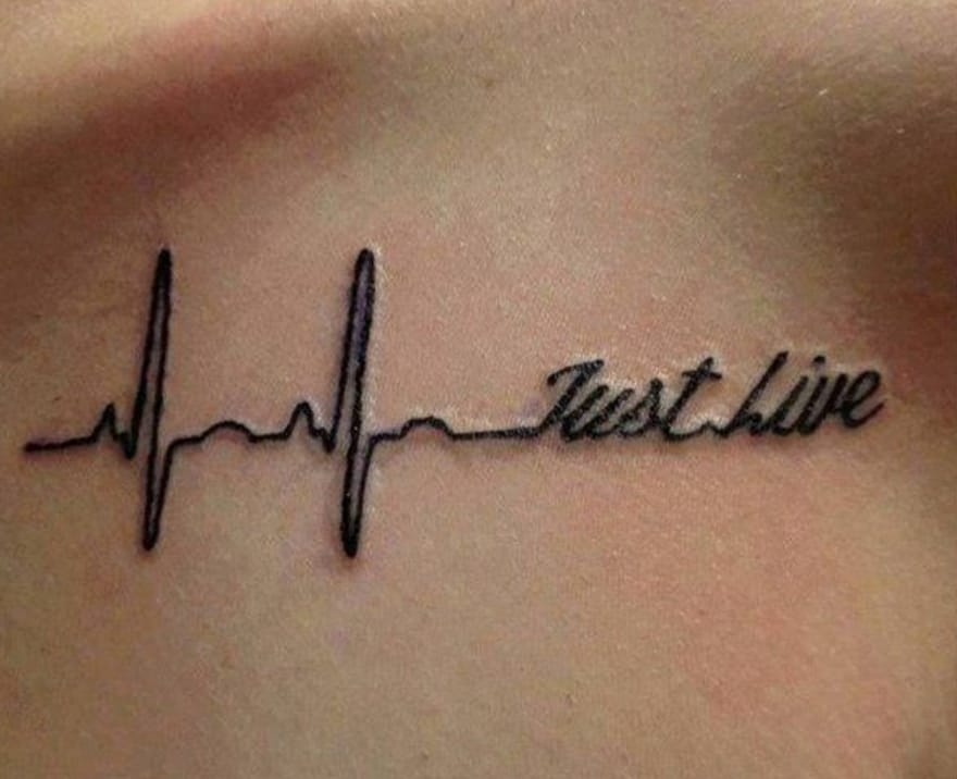 Just live tattoo, lettering collarbone tattoo, Source: barneyfrank.net