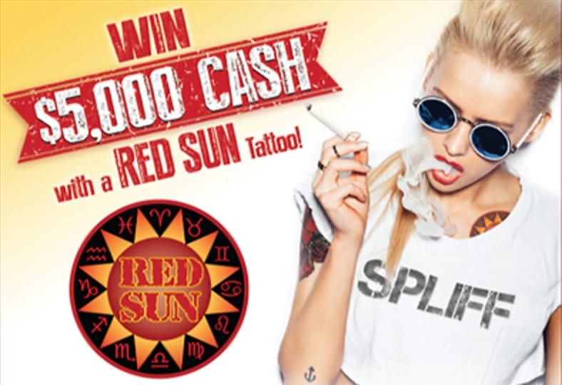 Red Sun Cigarettes tattoo contest poster