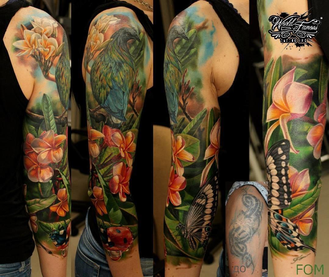 Hyper-realistic nature tattoo sleeve by Ilya Fom