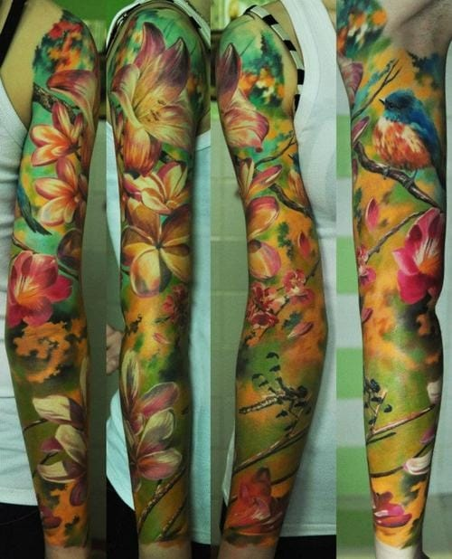 Colorful and delicate nature scene; full sleeve realism by Den Yakovlev