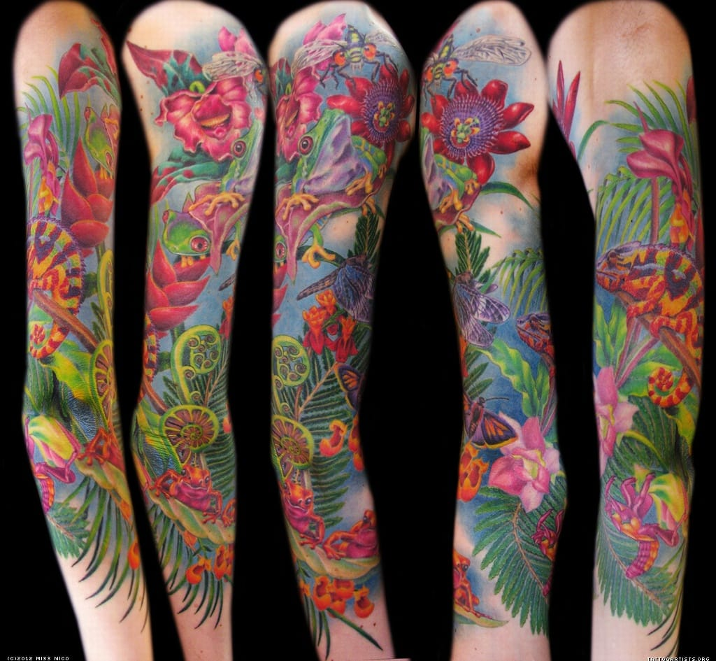 Tropical paradise full sleeve realism by Miss Nico