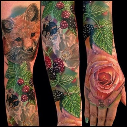 Hyper-realistic fox, berries and bee sleeve by Phil Garcia