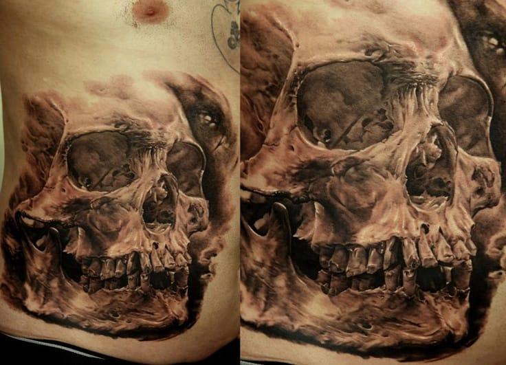 Stomach tattoo by Dmitriy Samohin