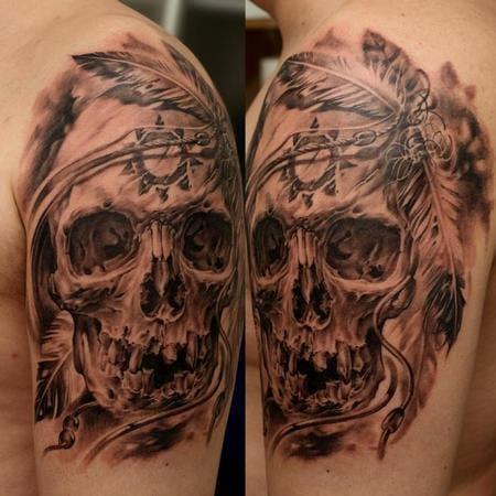 Native American Inspired skull tattoo by Dmitriy Samohin