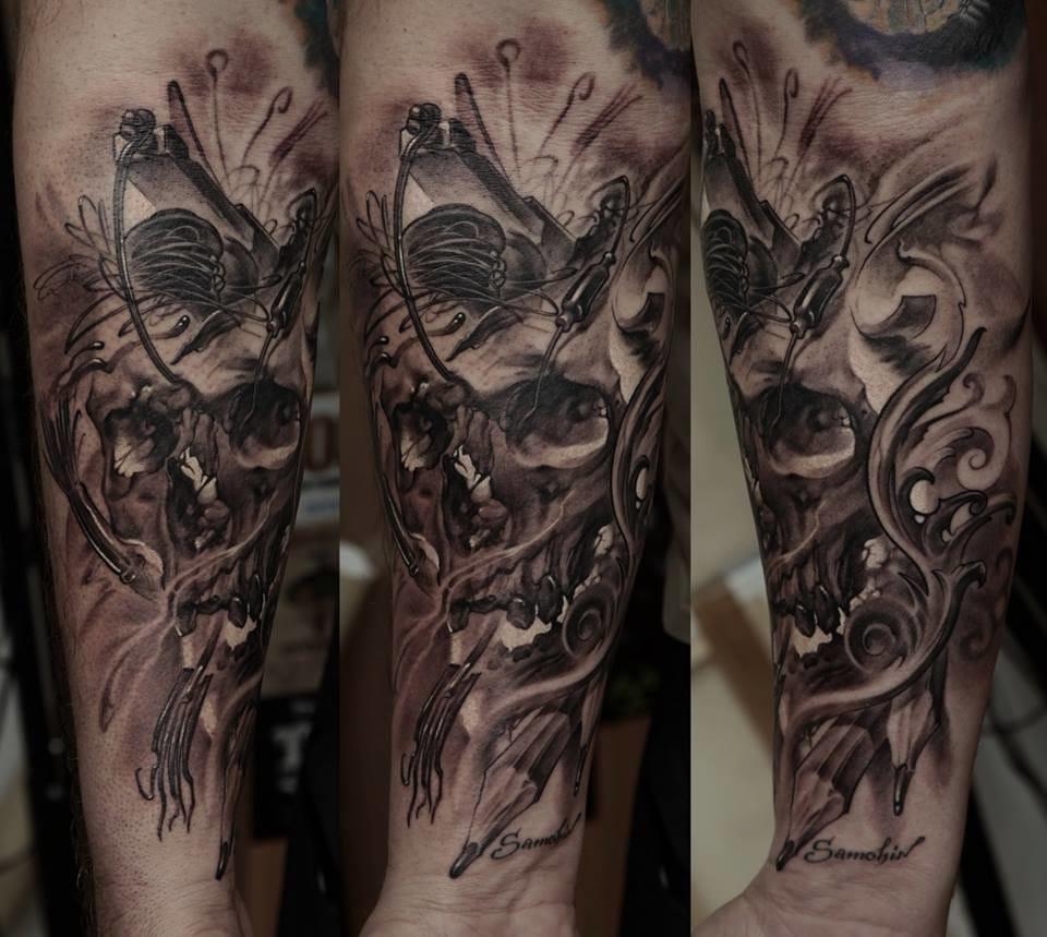 Signed Black and gray tattoo by Dmitriy Samohin