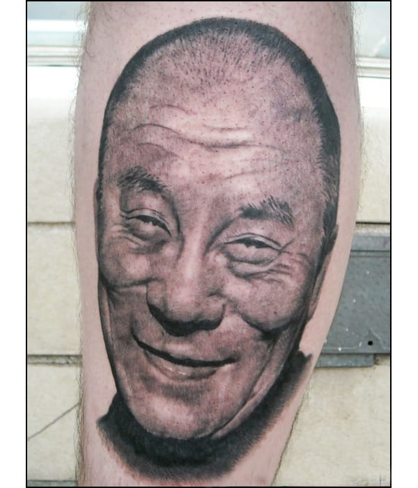 Dalai Lama portrait by Dave Allen at Preying Mantis Tattoo