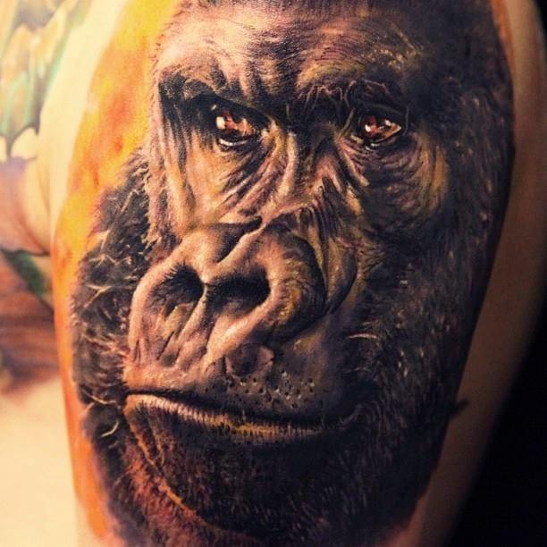 Gorilla Portrait Tattoo by Seunghyun Jo