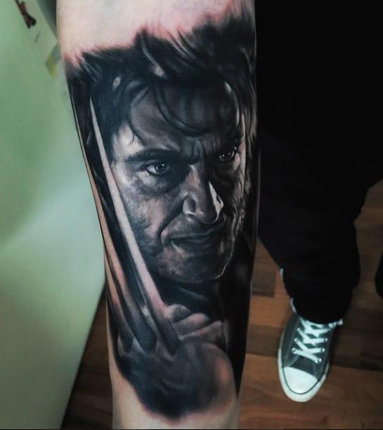Wolverine portrait tattoo