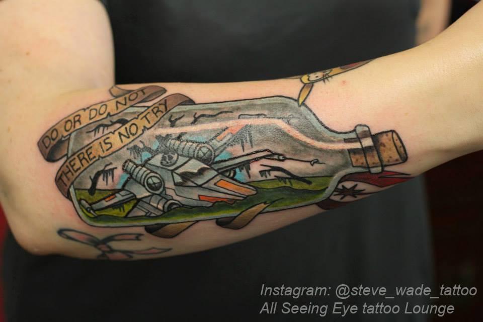 Cool idea on this X-wing tattoo! Tattoo by @steve_wade_tattoo.