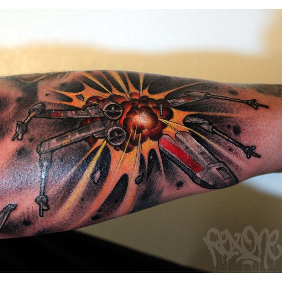 X-Wing fighter tattoo by Rexy Rockwell