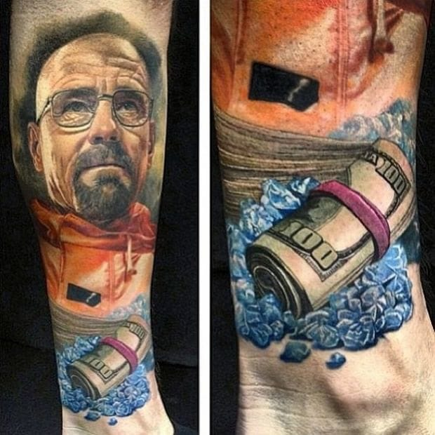 Love this Breaking Bad-inspired tattoo with a roll of money on the side!