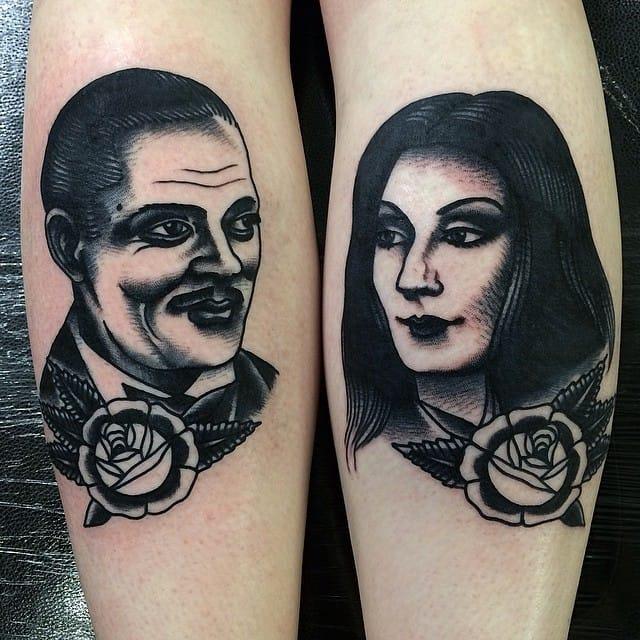 Gomez and Morticia Addams.