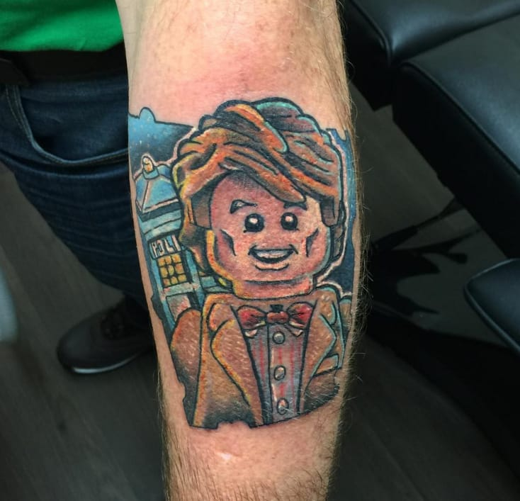 Matt Smith, as the 11th Doctor, in Doctor Who, in lego form! Tattoo by Ryan Lucas, Obsession Tattoos, Ipswich, UK (Instagram @ryanlucas_obsessiontattoos).
