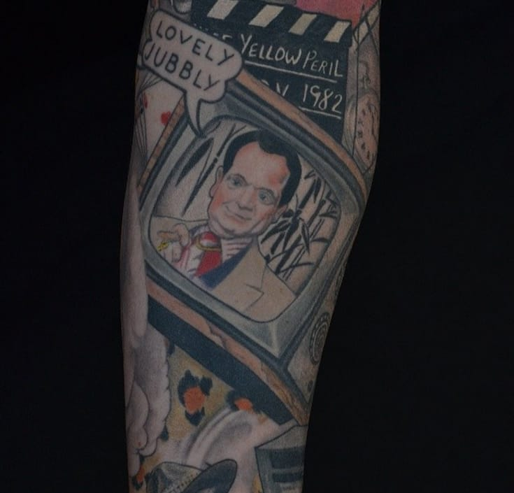 Del Boy (Only Fools and Horses) tattoo by Steve Jarvis (from Instagram @stevemonkido).