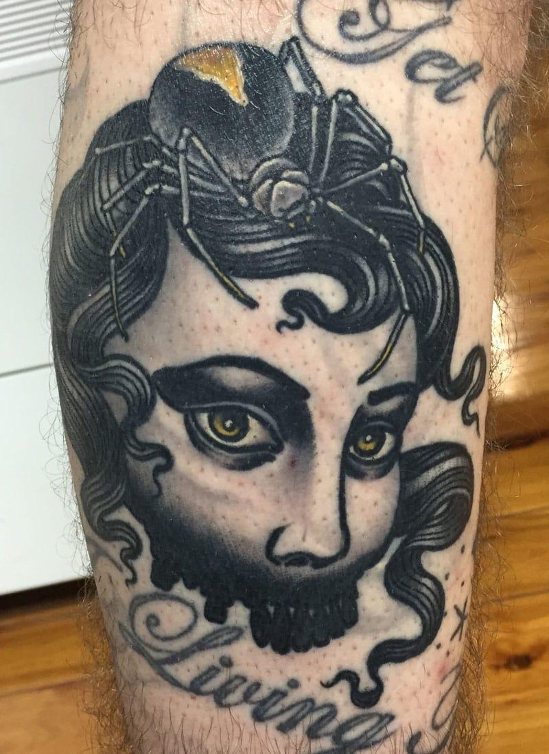 Bold & simple blackwork Spider girl tattoo rendition by Alex Rusty.