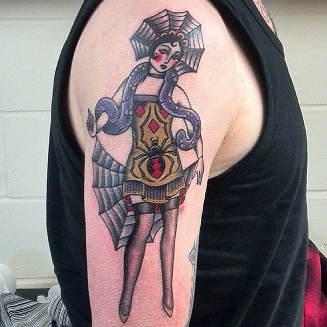 Cool lady spider pin-up tattoo by Jon Longstaff.